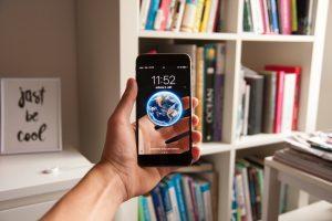 smartphone, bookcase