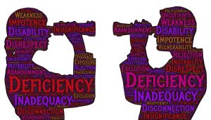 Outline of two people with binoculars and the figures are covered in words such as deficiency inadequacy