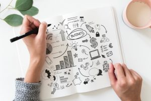 person drawing a conceptual diagram with images of business strategies